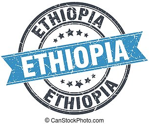 Ethiopia blue round grunge vintage ribbon stamp