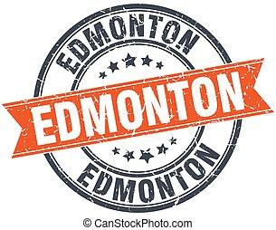 Edmonton red round grunge vintage ribbon stamp