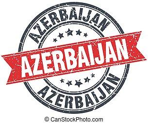 Azerbaijan red round grunge vintage ribbon stamp