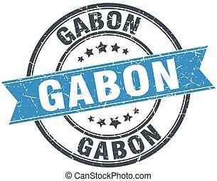 Gabon blue round grunge vintage ribbon stamp
