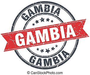 Gambia red round grunge vintage ribbon stamp