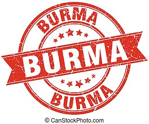 Burma red round grunge vintage ribbon stamp