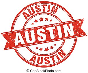 Austin red round grunge vintage ribbon stamp