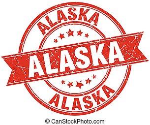 Alaska red round grunge vintage ribbon stamp