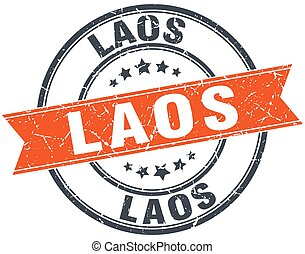 Laos red round grunge vintage ribbon stamp