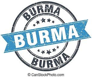 Burma blue round grunge vintage ribbon stamp