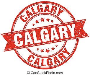 Calgary red round grunge vintage ribbon stamp