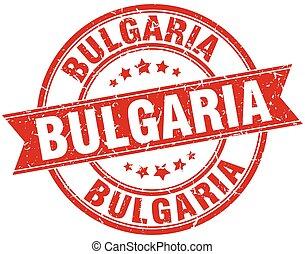 Bulgaria red round grunge vintage ribbon stamp