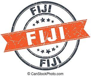 Fiji red round grunge vintage ribbon stamp