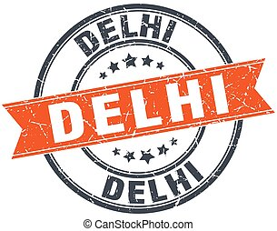 Delhi red round grunge vintage ribbon stamp