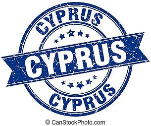 Cyprus blue round grunge vintage ribbon stamp