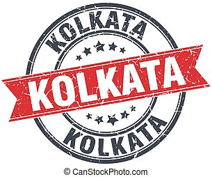 Kolkata red round grunge vintage ribbon stamp