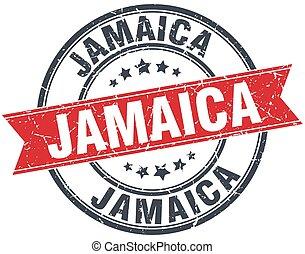 Jamaica red round grunge vintage ribbon stamp