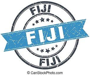 Fiji blue round grunge vintage ribbon stamp