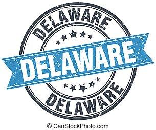 Delaware blue round grunge vintage ribbon stamp