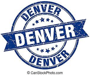 Denver blue round grunge vintage ribbon stamp