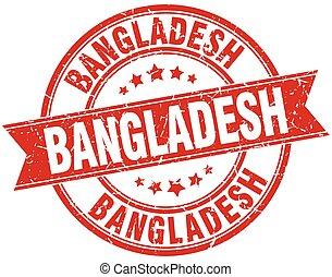 Bangladesh red round grunge vintage ribbon stamp