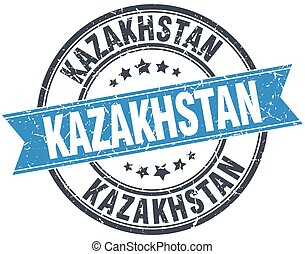Kazakhstan blue round grunge vintage ribbon stamp