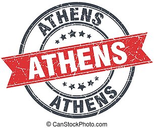 Athens red round grunge vintage ribbon stamp