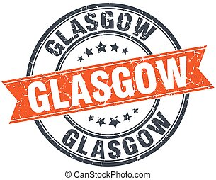 Glasgow red round grunge vintage ribbon stamp