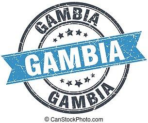 Gambia blue round grunge vintage ribbon stamp