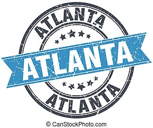 Atlanta blue round grunge vintage ribbon stamp