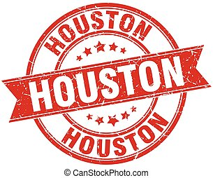 Houston red round grunge vintage ribbon stamp