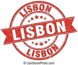 Lisbon red round grunge vintage ribbon stamp