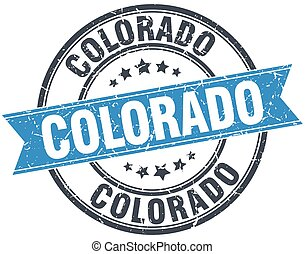 Colorado blue round grunge vintage ribbon stamp