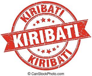 Kiribati red round grunge vintage ribbon stamp