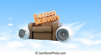 express delivery sky 3d Illustrations