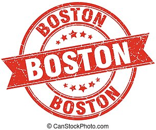 Boston red round grunge vintage ribbon stamp