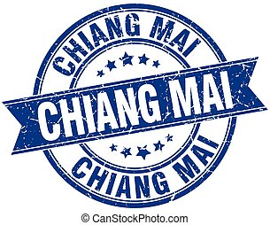 Chiang mai blue round grunge vintage ribbon stamp