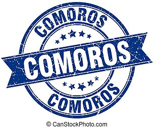 Comoros blue round grunge vintage ribbon stamp