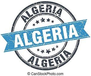 Algeria blue round grunge vintage ribbon stamp