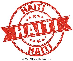 Haiti red round grunge vintage ribbon stamp