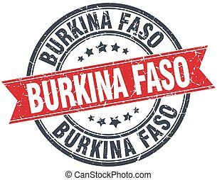 Burkina Faso red round grunge vintage ribbon stamp