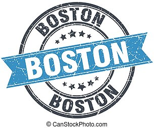 Boston blue round grunge vintage ribbon stamp