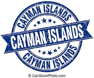 Cayman Islands blue round grunge vintage ribbon stamp