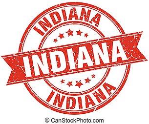 Indiana red round grunge vintage ribbon stamp