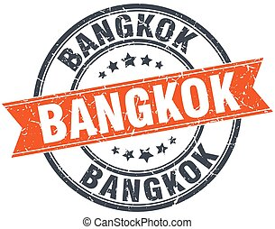 Bangkok red round grunge vintage ribbon stamp
