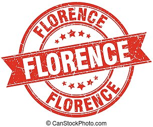 Florence red round grunge vintage ribbon stamp
