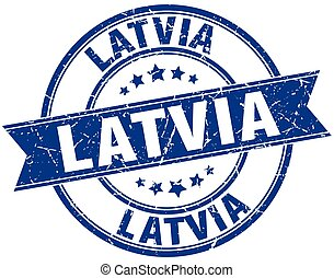 Latvia blue round grunge vintage ribbon stamp