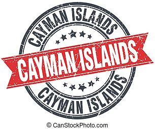 Cayman Islands red round grunge vintage ribbon stamp