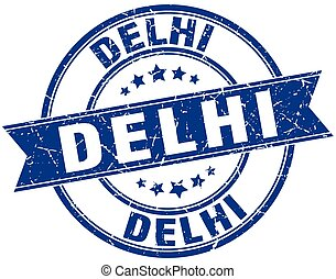 Delhi blue round grunge vintage ribbon stamp