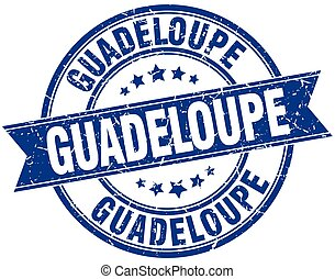 Guadeloupe blue round grunge vintage ribbon stamp