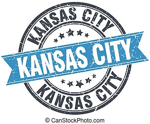 Kansas City blue round grunge vintage ribbon stamp
