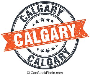 Calgary red round grunge vintage ribbon stamp