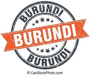Burundi red round grunge vintage ribbon stamp