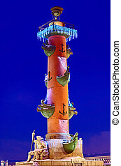 Rostral column in St. Petersburg, Russia - Rostral column on...